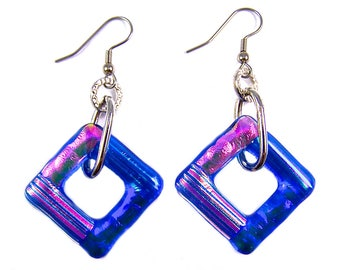 """Dichroic Earrings Dangle - Blue Cobalt Pink Purple Green Teal Orange Polka Dots Striped Fused Glass - Surgical Steel Wire 1"""" Square Loop"""