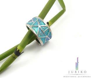Titanium handmade ring - Green triangles