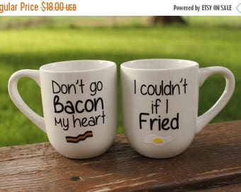 SPRING Don't Go Bacon My Heart I Couldn't if I Fried Personalized 14 oz White Set Coffee Mug