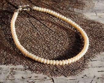 Natural Button Pearl Choker Necklace