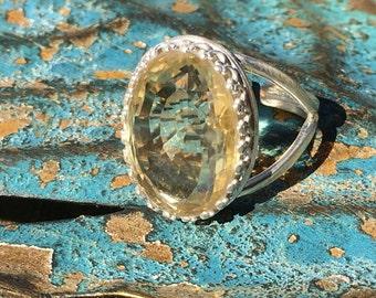 22.05 ct. Citrine Sterling Ring, citrine birthstone ring, november birthstone ring, statement ring, cocktail ring