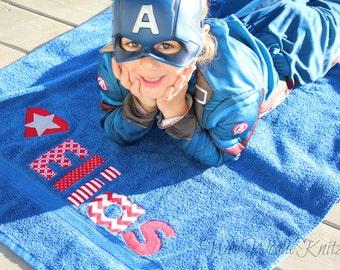 Super Hero Personalized Beach Towel- Girls Boys- Bath Towel- Appliqued Childrens- Captain America