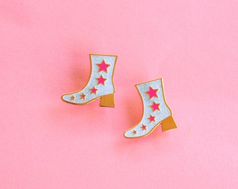 Disco Boot Enamel Pin Glitter Neon Pink Star Gifts under 10 Lapel pin