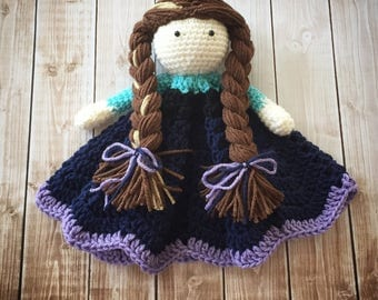 Anna Inspired Lovey/ Security Blanket/ Stuffed Toy/ Plush Toy Doll/ Soft Toy Doll/ Amigurumi Doll/ Frozen Doll- MADE TO ORDER