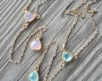 Pink or Aqua Chalcedony Y Necklace