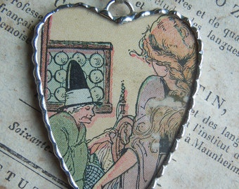 Fiona & The Fig - Vintage-1920 Art Deco-Childrens Book Image- WICKED WITCH - Soldered Charm - Necklace - Pendant-Jewelry