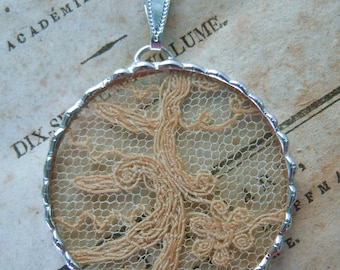 Fiona & The Fig -  Antique Victorian Lace - Charm -  Necklace - Pendant - Jewelry