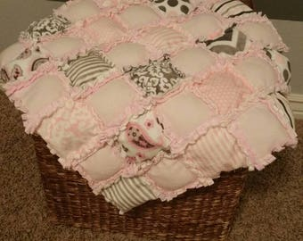 Pink Puffy Rag Baby Quilt