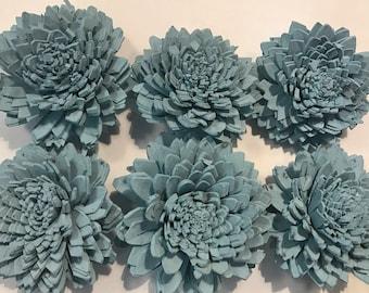 Sola Zinnia Flowers---  Set of 6 Robin Egg Blue Sola Zinnia Flowers-- Wedding balsa flowers Only 1 set available!
