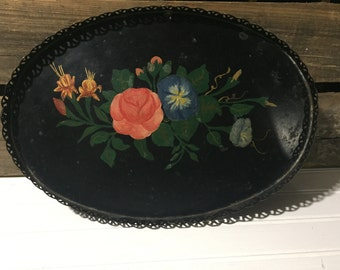 Metal tray jewelry holder storage vintage repurpose floral hand painted