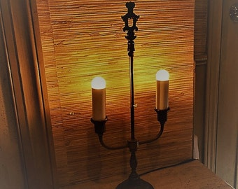 Vintage candelabra style Hollywood Regency desk lamp 1950s
