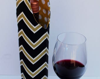 Black with White & Gold Chevron Wine Bag Gift Tote Bag Handmade in USA