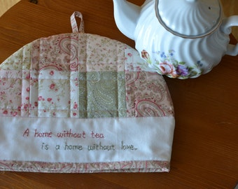 Cotton Floral Quilted Tea Cosy, Cottage Chic Tea Cozy, Pink Green Kitchen, Tea Party Decor