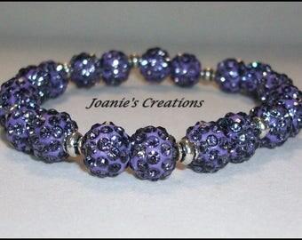 10mm Lotus Purple Czech Crystal Rhinestone Pave Beaded Stretch Bracelet