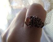 Earth Ring, Brown Rutilated Quartz ring Gemstone Ring, Elvish Brown Ring, Gemstone Ring, Elvish Earth Ring