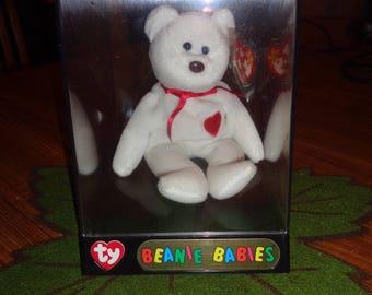 RARE! Retired Ty Beanie Babies Valentino Bear 1993 w/display case MWMT