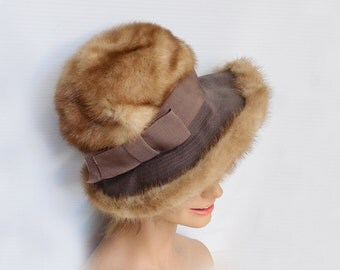 1960s-70s Mink Fedora by Dior / Autum Haze Mink / designer / Tiffany/ Mod / Floppy hat