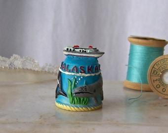 Vintage Alaska Thimble Souvenir Whales Cruise Ship Sewing Room Thimble Collector 1990s