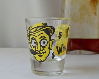 Vintage Shot Glass Roving Eye Barware Goggly Eye Shot Glass Mid Century Modern Mad Men 1950s
