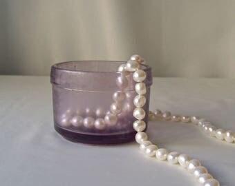 Antique Purple Glass Jar Vanity Box French Gourmet Import Jar Purple Glass Collection 1900s Shabby Cottage Decor