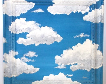 1970's Art Clouds Canvas Painting With Painted Clouds Wood Frame — Signed By Artist, Dawn Howkinson Siebel (Ships to US addresses only.)
