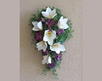 Succulent Bouquet, Purple White Bride's Bouquet, MADE TO ORDER, Faux Succulents, Purple Succulents, White Orchids and Succulent