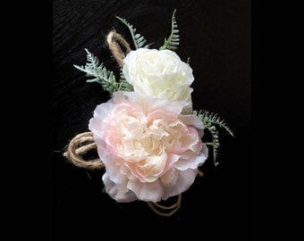 Rustic Corsage, Made to Order, White Peony, Pink Ranunculus, Rustic Fern, Wedding Florals, Proms Flowers, Blush Wedding, Mother of the Bride