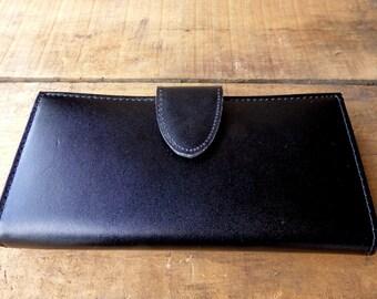 Black Leather Wallet Large Billfold NOS Split Cow Hide
