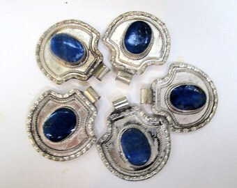 Vintage Lapis Lazuli Pendants from Afghanistan with Gift Chain-Lot of 5-WHOLESALE