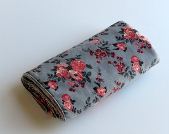 Large Cotton Jersey Knit Baby Swaddle/Receiving Blanket - Girl - Coral Peach Floral on Gray
