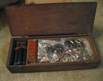 Engineering Thrill Gilbert Toys 1927 Erector Set in Original Antique Wood Box With Dovetail Corners Comes With Lots of Parts and Papers