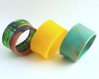 Resin Bangle - Hundreds and Thousands Sprinkles. Handmade. Yellow, Colourful. Colorful. Multi-Coloured. Medium Size. Blue. Womens Jewellery