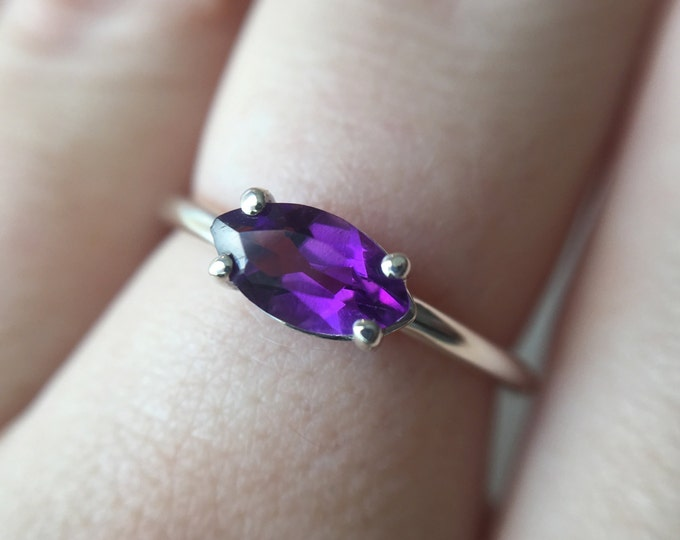 Marquise Faceted Amethyst Ring - sterling silver amethyst ring - faceted amethyst ring - amethyst engagement ring - marquise stone ring
