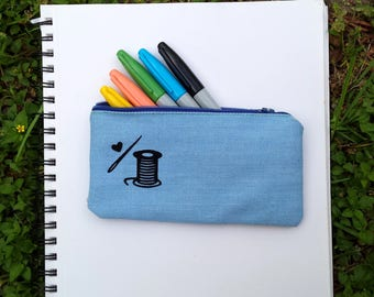 Flocked Sewing Needle & Thread Zipper Pouch