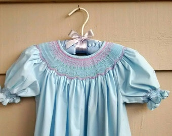 Smocked Dress -6T - Pale Blue Long Dress with Smocked Yolk in Purple and Pink Pastels, and Short Sleeves.