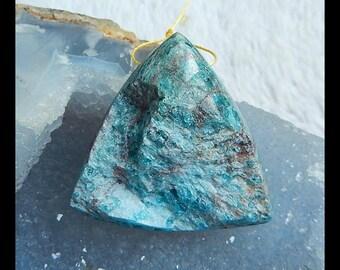 Nugget Blue Apatite Crystal Gemstone Pendant Bead,Triangle Pendant,44x44x18mm,39.2g(d0394)