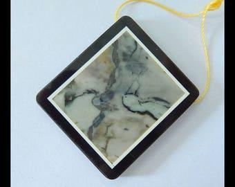 Picasso Jasper,Obsidian ,White Jade Intarsia Pendant Bead,37x33x5mm,15.3g(e0823)