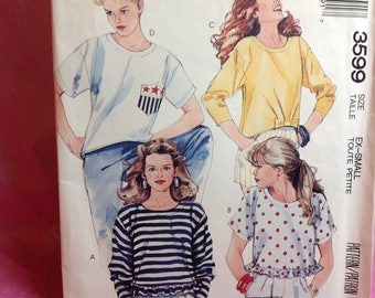 Vintage Mccalls Pattern 3599 - Knit Only Pattern, Top Pattern, Ex Small Pattern