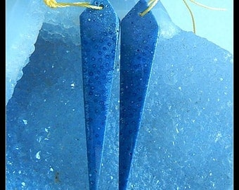 New,Blue Fossil Coral Gemstone Long Earring Bead,56x11x3mm,4.1g