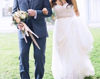 Rose gold Bridal Crystal Sash. Gold Rhinestone Pearl Beaded Applique Wedding Dress Belt 27 inches. ETUDES