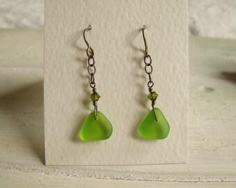 Green glass drop earrings, Tumbleworn, Sea Glass finish, Vintaj brass ear hooks and chain