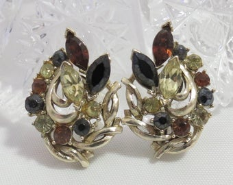 Vintage Signed Coro Black and Brown Crystal Clip On Earrings