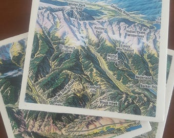 Denver Ski Slope Drink Coasters...Set of 4...Full Cork Bottoms...Great Gift Idea