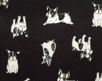 French bulldog printed cute  fabric half yard