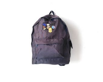 vintage AUDUBON sun faded forest Navy BLUE nylon vintage 90s BACKPACK day pack with enamel pins