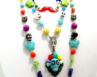 SALE Sugar Skull Necklace Frida Kahlo Flower Head Statement Colorful Jewelry Bold Multi-Layered Rosary Style Necklace One of a Kind