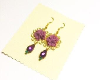 purple pendant flower earring *last one*