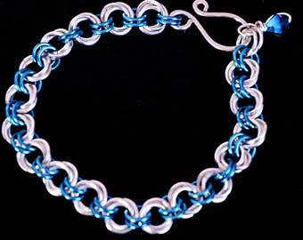 Rosette chain mail bracelet