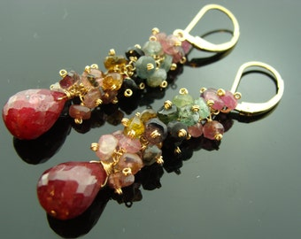 Ruby and Watermelon Tourmaline 14K Gold Filled Cluster Leverback Earrings