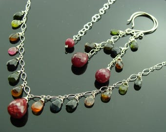 Ruby and Watermelon Tourmaline Sterling Silver Gemstone Necklace and Earrings Set